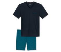 Schlafanzug kurz V-Ausschnitt dunkelblau - Blue Hour