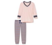 Schlafanzug 3/4-lang Ringel rosé - Tension