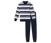 Schlafanzug lang Blockringel Bündchen dunkelblau-weiß - Dark Sapphire