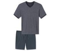 Schlafanzug kurz anthrazit gemustert - Natural Balance