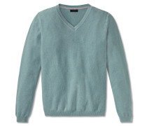 Pullover Strick Struktur V-Ausschnitt aquablau meliert - selected! premium
