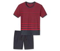 Schlafanzug Interlock kurz rot-anthrazit geringelt - Tokio