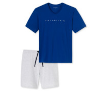 Schlafanzug kurz V-Auschnitt royalblau - Lights on Blue