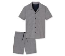 Pyjama kurz Jersey merzerisiert Knopfleiste dunkelblau gemustert - Lights on Blue