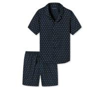Pyjama kurz Satin Knopfleiste Zitronen dunkelblau - Lights on Blue