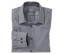 Hemd langarm bügelfrei Kentkragen blaugrau-weiß gemustert - SLIM FIT