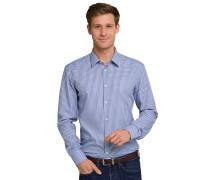 Hemd langarm bügelfrei Kentkragen blau-weiß kariert - SLIM FIT