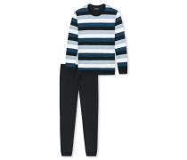 Schlafanzug lang Jersey Bündchen Blockringel mehrfarbig - selected! premium inspiration