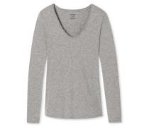 Shirt langarm V-Ausschnitt grau meliert - Naturschönheit