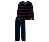 Schlafanzug lang Velours V-Ausschnitt dunkelblau-rot geringelt - Bristol