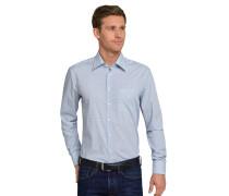 Hemd langarm bügelfrei Kentkragen blau-weiß gemustert - REGULAR FIT