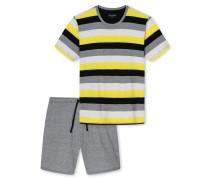 Schlafanzug kurz Jersey Blockringel mehrfarbig - selected! premium inspiration