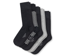 Herrensocken 5er-Pack Uni Ringel schwarz-grau - Cotton Fit