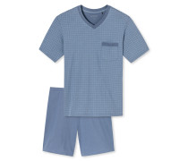 Schlafanzug kurz V-Ausschnitt indigoblau gemustert - Original Classics
