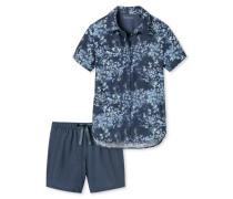Schlafanzug kurz Webviskose Knopfleiste mehrfarbig - Asian Exotic