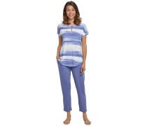 Schlafanzug T-Shirt 7/8-Hose Wasserfarben-Look indigo-weiß - Sometimes feelin´ blue