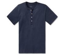Shirt kurzarm Feinripp Henley Knopfleiste navy - Selected! Premium