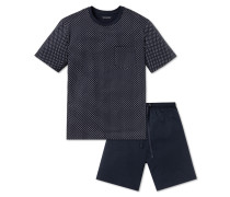 Schlafanzug kurz dunkelblau gemustert - Dark Sapphire