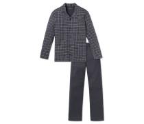 Pyjama lang Jersey grau-weiß kariert - Ebony
