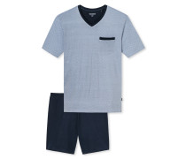 Schlafanzug kurz V-Ausschnitt grafisch gemustert blau - Original Classics