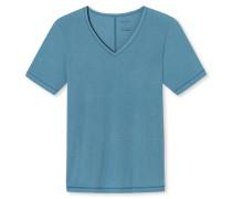 Shirt kurzarm V-Ausschnitt blaugrün - Personal Fit