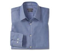 Hemd langarm bügelfrei Kentkragen blau gemustert - SLIM FIT