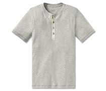 Shirt kurzarm Feinripp Henley Knopfleiste natur meliert - Selected! Premium