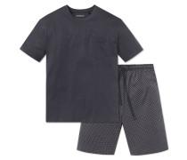 Schlafanzug kurz Jersey grau - Ebony