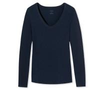 Shirt langarm V-Ausschnitt nachtblau - Naturschönheit