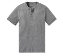 Shirt kurzarm Feinripp Henley Knopfleiste grau meliert - Selected! Premium