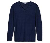 Pullover Feinstrick Wolle V-Ausschnitt jeansblau - Revival Jakob