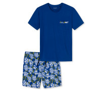 Schlafanzug kurz Jersey royalblau - Lights on Blue