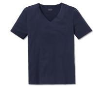 Shirt Interlock seamless kurzarm V-Ausschnitt blau - Laser Cut