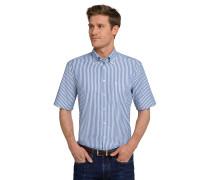 Hemd kurzarm bügelfrei Button-Down-Kragen blau-weiß gestreift - REGULAR FIT