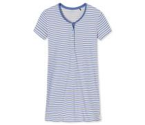 Sleepshirt kurzarm Knopfleiste Ringel atlantikblau/creme - Riviera Refresh