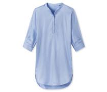 Nachthemd 3/4-Arm Webbatist Knopfleiste airblau - Riviera Refresh