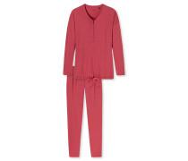 Schlafanzug lang Knopfleiste cranberry - Long Life Softness