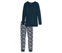 Schlafanzug Longshirt Leggings Rosen blaugrau - Aura