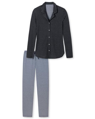 Pyjama Jersey Ringel graphit - Go Indigo