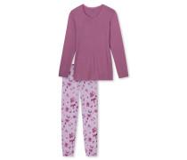 Schlafanzug lang Jersey Spitze Blumen malve - Winter Blossoms