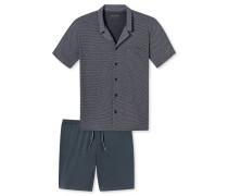 Pyjama kurz anthrazit gemustert - Natural Balance