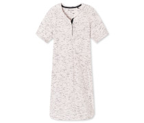 Sleepshirt kurzarm Viskose-Jersey Melange-Optik graphit - Go Indigo