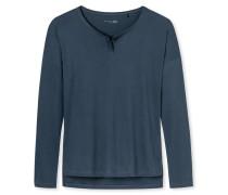 Shirt langarm Jersey gepeached Knopfleiste blaugrau - Mix & Relax