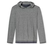 Shirt langarm Lagenlook Kapuze dunkelgrau meliert - Mix & Relax