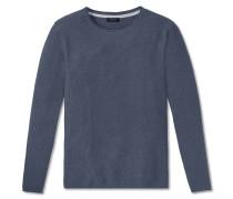 Pullover Strick Struktur rundhals blau meliert - selected! premium