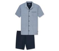 Pyjama kurz Jersey Knopfleiste blau gemustert - Original Classics