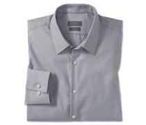 Hemd langarm bügelfrei Kentkragen grau-weiß gemustert - SLIM FIT