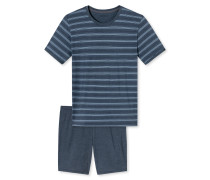 Schlafanzug kurz blau geringelt - Natural Balance