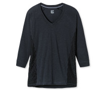 Shirt 3/4-Arm Flammgarn oversized Spitze graphit - Mix & Relax