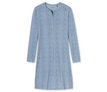 Sleepshirt langarm Interlock Knopfleiste hellblau - Winter Blossoms